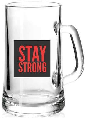 Stay Strong White Glass Printed Juice /Milk/ ColdDrinkds &  Beer Mug by Juvixbuy