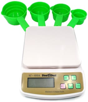 Stealodeal Digital SF-400A 10kg With 4pcs Green Cup Set Weighing Scale
