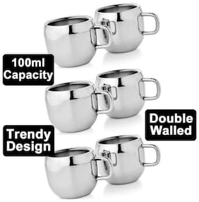 Steel Cups for Tea Set of Six Stainless Steel Heavy Gauge Double Walled Tea/Coffee Cup