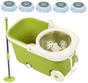 Steel Green Spin Mop Mop Bucket with 5 Refill