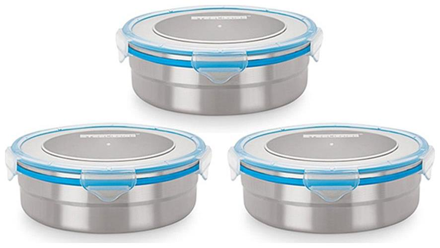 Steel Lock Airtight Storage 1200 ml Food Lock Containers 3 pc 1501 Set by Value Tree Retail