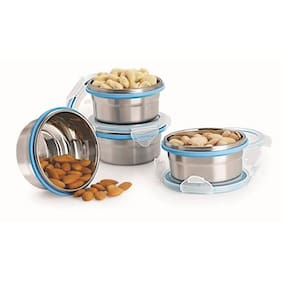 Steel Lock Airtight Storage Containers Combo, 200ml, 4-pc set Assorted colors