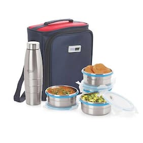 Steel Lock 4 Containers Stainless steel Lunch Box - Silver