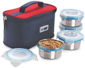 Steel Lock Silver Lunch box ( Set of 1 , 800 ml )