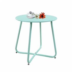 Steel Patio Coffee Table, Weather Resistant Outdoor Side Table Small Round End