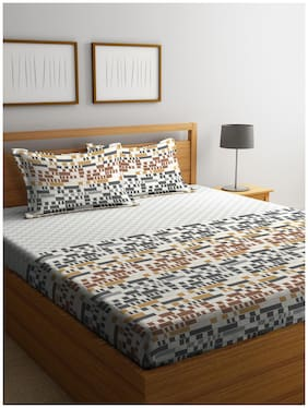 Stellar Home USA Cotton Printed Multi 1 Super King Bedsheet with 2 Pillow Covers Stellar Home USA