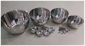 STEREN Plastic Silver Mixing bowl ( Set of 4 )