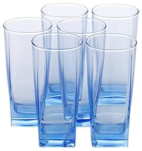 Incrizma Sterling Ice Blue;Transparent H/B tumbler Glass Set of 6 -330 ml