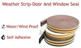 Stick&Seal D Shaped (Brown) Self-Adhesive Epdm Doors And Windows Foam Seal Strip Rubber Weatherstrip 6 Meter (2 X 3 M = 6 Meter)