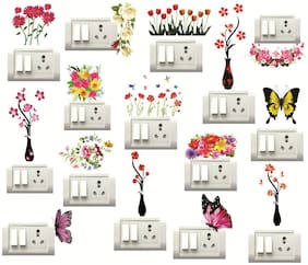 Sticker Studio FLOWER POT,FLORAL BUTTERFLY Switch Board Sticker 9Set of 15)