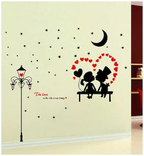 Sticker Studio star couple love Wall Sticker (PVC Vinyl,Size -121 cm x 114 cm)