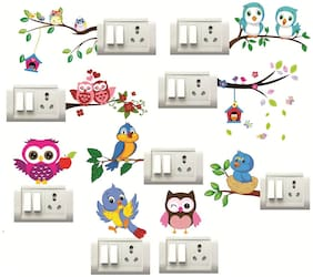 Sticker Studio BIRDS,OWL Switch Board Sticker (Set of 9)
