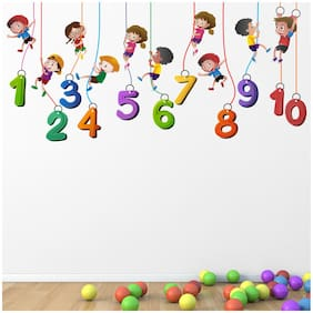 StickMe 'Kids Playing Climbing Up The - Rope - Numbers - Baby - Learning Education  Nursery  Wall Sticker ' -SM707 ( PVC Vinyl - 160cm X 60 cm )