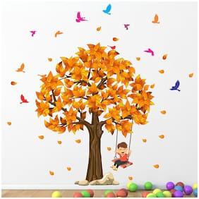 StickMe 'Kids and Tree - Birds - Autumn - Decorative - Creative - Colorful - Wall Sticker' -SM748 ( PVC Vinyl - 120cm X 120 cm )