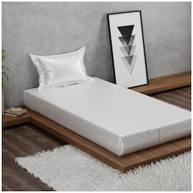 Stoa Paris Polyester Solid Single Size Bedsheet 110 TC ( 1 Bedsheet With 1 Pillow Covers , White )