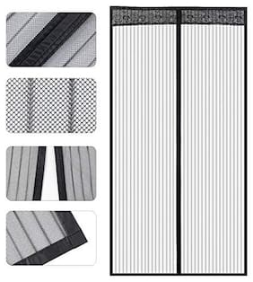 Store2508 Polyester Mesh Mosquito Screen Curtain with Magnets (100 x 210 Cm, Black)