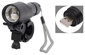 Store2508 USB Rechargeable Zoom LED Torch with Cycle Holder Clip (Black)