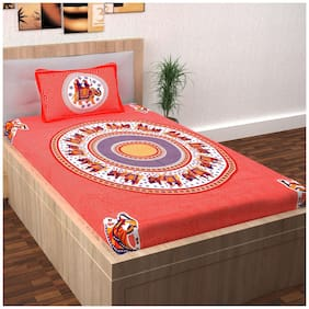 Story@Home Cotton Printed Single Size Bedsheet 120 TC ( 1 Bedsheet With 1 Pillow Covers , Red )