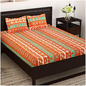 Story@Home Cotton Abstract Double Size Bedsheet 152 TC ( 1 Bedsheet With 2 Pillow Covers , Orange )