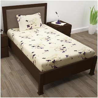Story@Home Cotton Floral Single Size Bedsheet 208 TC ( 1 Bedsheet With 1 Pillow Covers , Purple )