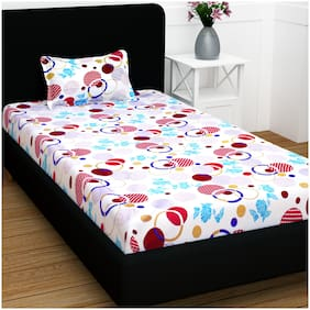 Story@Home Cotton Abstract Single Size Bedsheet 104 TC ( 1 Bedsheet With 1 Pillow Covers , White )