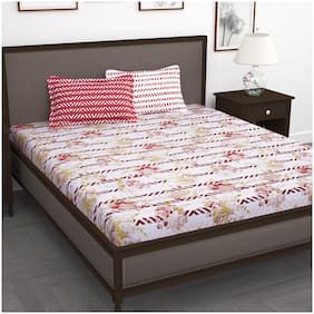 Story@Home Cotton Floral King Size Bedsheet 186 TC ( 1 Bedsheet With 2 Pillow Covers , Pink )
