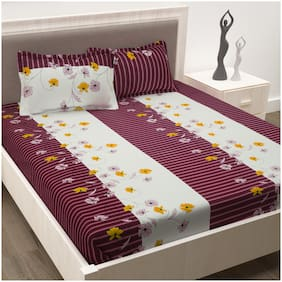 Story@Home Cotton Floral Double Size Bedsheet 186 TC ( 1 Bedsheet With 2 Pillow Covers , Magenta )