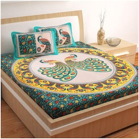 Story@Home 120 Printed Flat Double Bedsheet ( Turquoise , Pack of 3 )