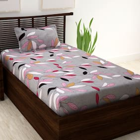 Story Home 100% Cotton 1 Single Bedsheet with 1 Pillow Cover