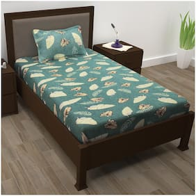 Story@Home Cotton Floral Single Size Bedsheet 208 TC ( 1 Bedsheet With 1 Pillow Covers , Grey )