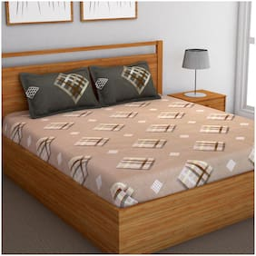 Bedspun Cotton Abstract Double Size Bedsheet 120 TC ( 1 Bedsheet With 2 Pillow Covers , Peach )