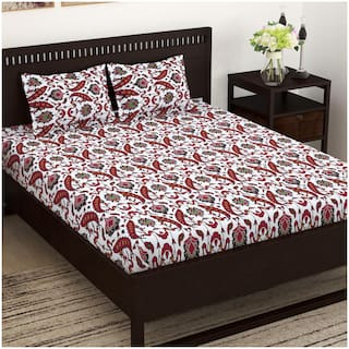 Story@Home Cotton Floral Double Size Bedsheet 152 TC ( 1 Bedsheet With 2 Pillow Covers , Maroon )