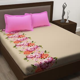 Story@Home Cotton Floral Double Size Bedsheet 186 TC ( 1 Bedsheet With 2 Pillow Covers , Pink )