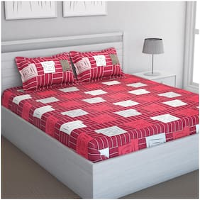 Bedspun Cotton Striped Double Size Bedsheet 120 TC ( 1 Bedsheet With 2 Pillow Covers , Maroon )