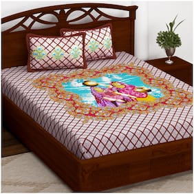 Story@Home Cotton Printed Double Size Bedsheet 152 TC ( 1 Bedsheet With 2 Pillow Covers , Brown )