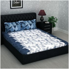 Story@Home 186 Abstract Flat Double Bedsheet ( Blue , Pack of 3 )