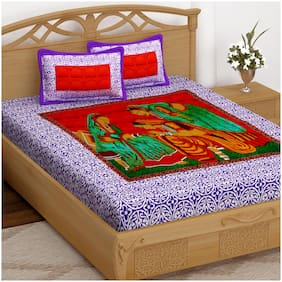 Story@Home Cotton Printed Double Size Bedsheet 152 TC ( 1 Bedsheet With 2 Pillow Covers , Purple )
