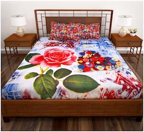 Story@Home Cotton Floral King Size Bedsheet 186 TC ( 1 Bedsheet With 2 Pillow Covers , Red )
