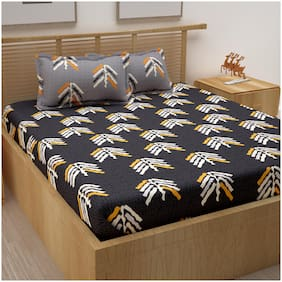 Story@Home Cotton Abstract Double Size Bedsheet 120 TC ( 1 Bedsheet With 2 Pillow Covers , Grey )