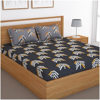 Bedspun Cotton Abstract Double Size Bedsheet 120 TC ( 1 Bedsheet With 2 Pillow Covers , Grey )
