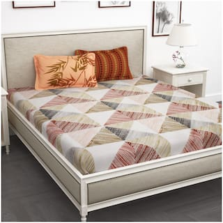 Story@Home Cotton Abstract King Size Bedsheet 210 TC ( 1 Bedsheet With 2 Pillow Covers , Peach )