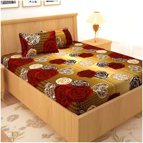 Story@Home Cotton Floral Double Size Bedsheet 120 TC ( 1 Bedsheet With 2 Pillow Covers , Brown )