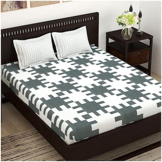 Story@Home Cotton Abstract Double Size Bedsheet 144 TC ( 1 Bedsheet With 2 Pillow Covers , Grey )