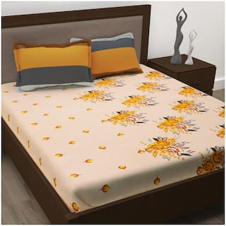 Story@Home Cotton Floral Double Size Bedsheet 186 TC ( 1 Bedsheet With 2 Pillow Covers , Orange )
