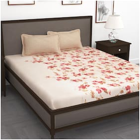 Story@Home Cotton Floral King Size Bedsheet 186 TC ( 1 Bedsheet With 2 Pillow Covers , Peach )