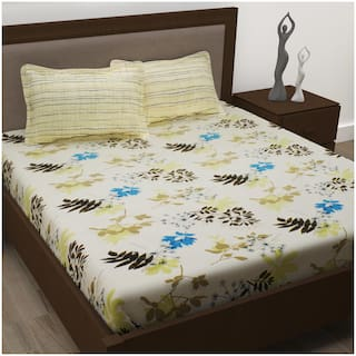 Story@Home Cotton Floral Double Size Bedsheet 186 TC ( 1 Bedsheet With 2 Pillow Covers , Beige )