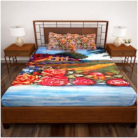 Story@Home Cotton Geometric King Size Bedsheet 186 TC ( 1 Bedsheet With 2 Pillow Covers , Blue )