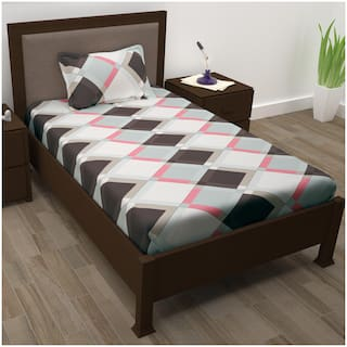 Story@Home Cotton Checkered Single Size Bedsheet 208 TC ( 1 Bedsheet With 1 Pillow Covers , Brown )