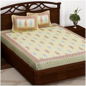 Story@Home Cotton Printed Double Size Bedsheet 152 TC ( 1 Bedsheet With 2 Pillow Covers , Beige )