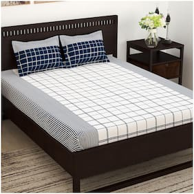 Story@Home Cotton Striped King Size Bedsheet 152 TC ( 1 Bedsheet With 2 Pillow Covers , Blue & White )